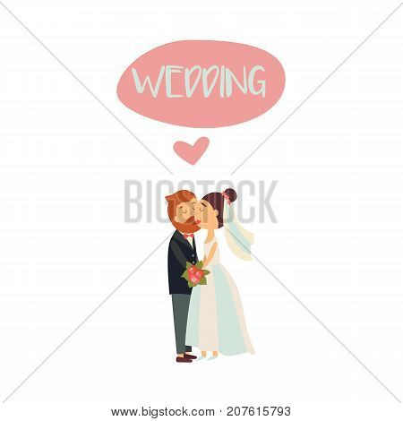 vector flat cartoon groom in tuxedo with beard and bride in veil and white dress newlywed couple kissing each other. Illustration isolated on a white background. Wedding concept character design