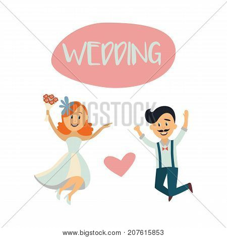 Wedding card, postcard template with funny couple, bride and groom, jumping happily, flat cartoon vector illustration isolated on white background. Funny comic wedding couple, bride and groom, jumping