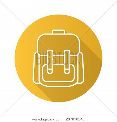 Schoolbag flat linear long shadow icon. Student's backpack. Vector outline symbol