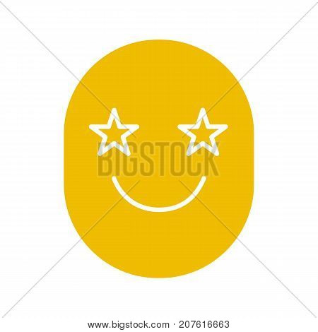 Face with eyes like stars glyph icon. Smiley silhouette symbol. Emoticon. Negative space. Vector isolated illustration