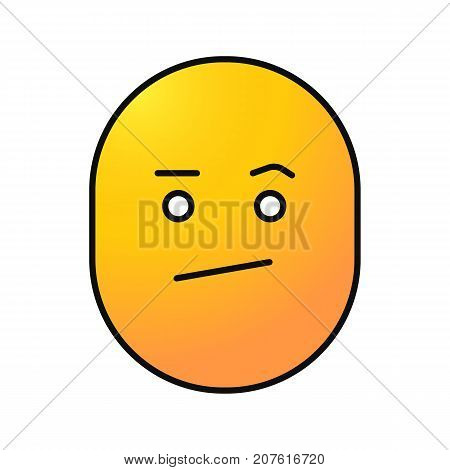 Bored smiley color icon. Confused face. Isolated vector illustration