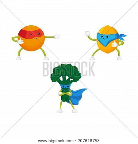 vector flat cartoon funny fruit, vegetable character in masks set. Lemon and orange standing like ninja, broccoli stands with arms crossed on chest. Isolated illustration on a white background.