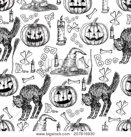Halloween holiday vector seamless pattern of halloween death reaper, spooky ghost, black cat, bat, skeleton skull, witch cauldron, coffin, tomb. Decoration background for halloween decoration design.