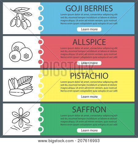 Spices web banner templates set. Goji berries, allspice, pistachio, saffron. Website color menu items with linear icons. Vector headers design concepts