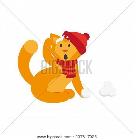 vector flat cartoon cat character making ice balls smiling wearing scarf, hat. Winter animal outdoor games, activities concept. Isolated illustrationo on a white background
