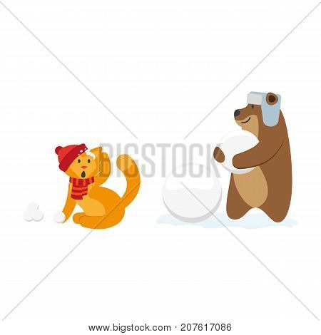 Cat and bear characters making snowballs, playing, winter activity, cartoon vector illustration isolated on white background. Little cat, kitten and baby character playing snowballs