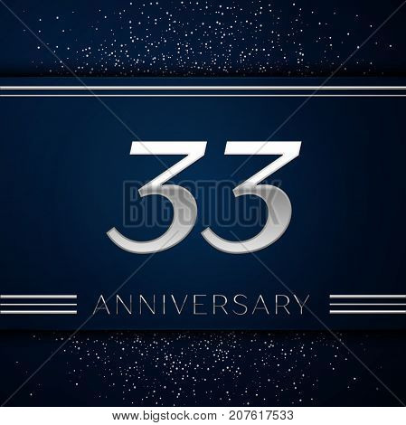 Realistic Thirty three Years Anniversary Celebration Logotype. Silver numbers and silver confetti on blue background. Colorful Vector template elements for your birthday party