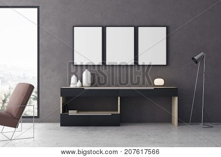 Modern living room interior with furniture city view and empty frame on wall. Mock up 3D Rendering