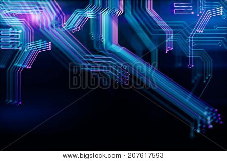 Abstract digital blurry motherboard background. Technology and computer hardware concept. 3D Rendering