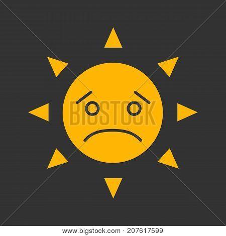 Sad sun smile glyph color icon. Bad mood. Emoticon. Silhouette symbol on black background. Negative space. Vector illustration