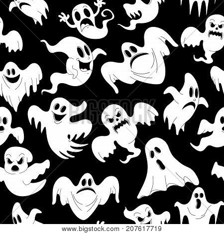 Vector illustration of seamless pattern with Halloween night of spooky ghosts for horror holiday party celebration. 31 October trick or treat design template of Halloween scary white ghost of haunted house. Pattern can be used for wallpaper pattern fills