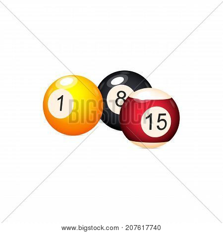 vector flat cartoon colored balls with numbers. Isolated illustration on a white background. Professional snooker set, pool billiard equipment, instrument for your design.