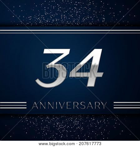 Realistic Thirty four Years Anniversary Celebration Logotype. Silver numbers and silver confetti on blue background. Colorful Vector template elements for your birthday party