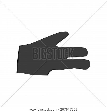 vector flat cartoon style special billiard pool glove. Isolated illustration on a white background. Professional snooker equipment for your design.