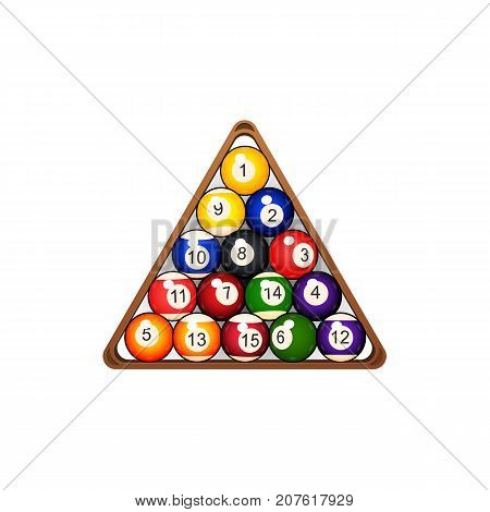 vector flat colored balls with numbers pyramid in wooden rack triangle. Isolated illustration on a white background. Professional snooker set, pool billiard equipment, instrument for your design.