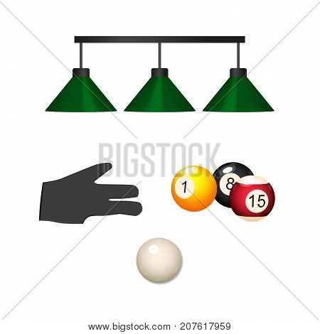 vector flat cartoon billiard snooker, pool equipment objects set. cue white ball, pendant lamps, hand in glove, colored balls with numbers. Isolated illustration on a white background.
