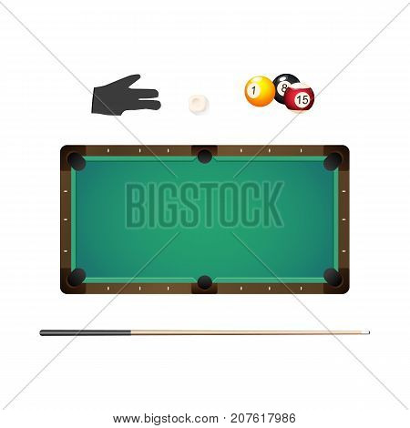 Billiard, snooker table, cue, pool glove, chalk and colored balls, realistic vector illustration isolated on white background. Vector set of pool, billiard game objects - table, cue, glove, balls