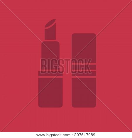 Lipstick glyph icon. Silhouette symbol. Negative space. Vector isolated illustration