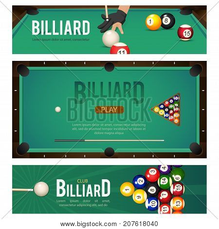 Set of three horizontal pool, billiard, snooker tournament banners with table, balls, hand in glove, vector illustration. Set of pool banner with billiard table, balls and hand with cue in glove