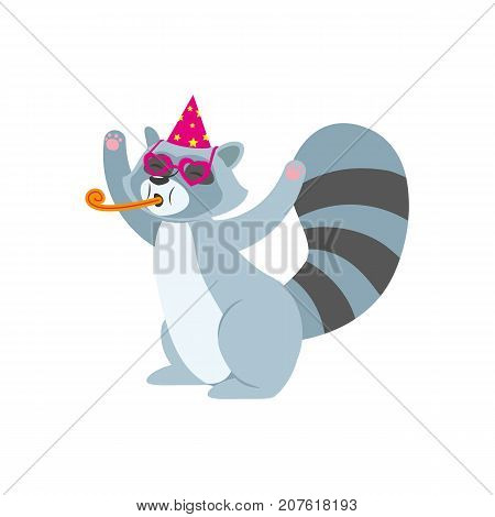 vector flat cartoon cheerful raccoon character having fun whistling wearing party hat happily smiling. isolated illustration on a white background. Animals party concept