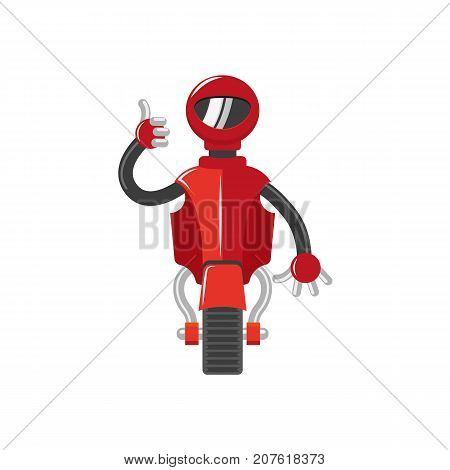 vector flat cartoon funny friendly robot. Humanoid male character with single roller or wheel - leg, arms showing thumbs up. Isolated illustration on a white background. Childish futuristic android.