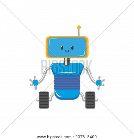 vector flat cartoon funny friendly robot. Humanoid male character with rollers or wheels - legs, arms antenna in head smiling. Isolated illustration on a white background. Childish futuristic android.