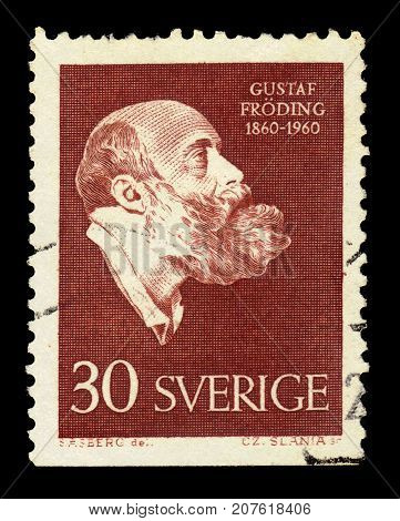 SWEDEN - CIRCA 1960: a stamp printed in the Sweden shows portrait by swedish poet and writer Gustaf Froding, circa 1960