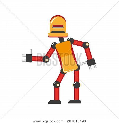 vector flat funny friendly robot. Humanoid male character with arms, legs wants to give handshake smiling. Isolated illustration on a white background. Childish futuristic android.