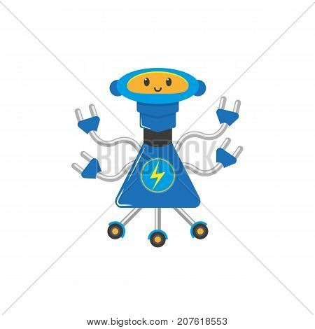 vector flat cartoon funny electro charging robot. Humanoid male character with roller - legs, arms electric plugs smiling. Isolated illustration on a white background. Childish futuristic android.