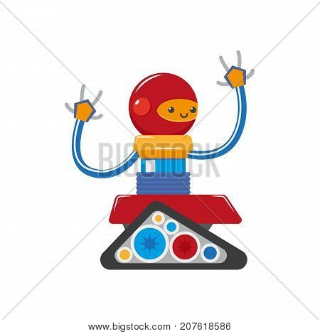 vector flat cartoon funny friendly robot. Humanoid male character with crawler tracks, arms, round head smiling. Isolated illustration on a white background. Childish futuristic android.