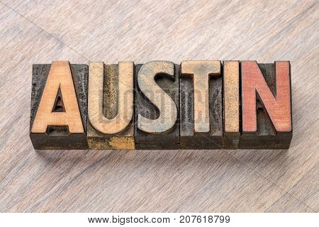Austin - word abstract in vintage letterpress wood type printing blocks