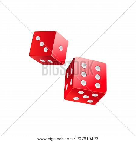 Couple of falling red casino dices, gambling devices, vector illustration isolated on white background. Two dices, casino, gambling devices for throwing random numbers