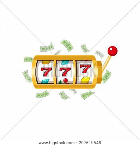 Three lucky sevens, slot machine display and lever, jackpot winning combination, vector illustration isolated on white background. Jackpot slot machine, jackpot winning combination, three sevens