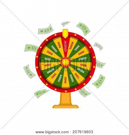 Wheel of fortune with money, dollar banknots falling, casino symbol, vector illustration isolated on white background. Wheel of fortune, casino, gambling device, lottery concept