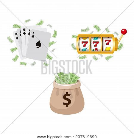 Gambling symbols - slot machine, playing cards and jackpot money bag, vector illustration isolated on white background. Slot machine display, playing cards, jackpot money, gambling, casino concept
