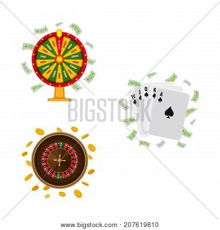 Set of casino, gambling symbols - roulette, wheel of fortune and playing cards, vector illustration isolated on white background. Fortune wheel, roulette game and poker playing cards, casino concept