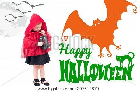 Halloween. Little Red Riding Hood. Beautiful Little Girl In A Red Raincoat.