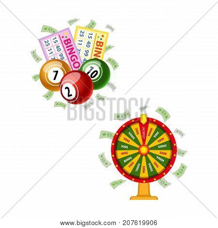Lottery symbols - wheel of fortune, bingo game cards and round kegs, jackpot winning concept, vector illustration isolated on white background. Bingo board game cards and kegs, fortune wheel, money