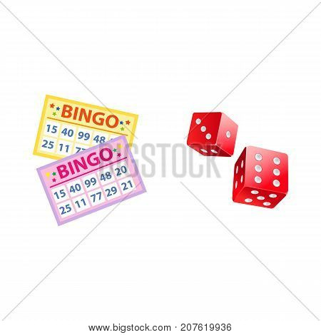 Lottery symbols - bingo game cards and two plastic dices, jackpot winning concept, vector illustration isolated on white background. Bingo board game cards and couple of dices