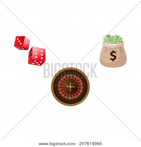 Gambling symbols - roulette table, couple of dices and jackpot money bag, vector illustration isolated on white background. Casino roulette, dices and jackpot money bag, moneybag, gambling concept