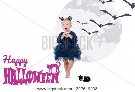 Halloween Costume. Little Girl In Costume Cat