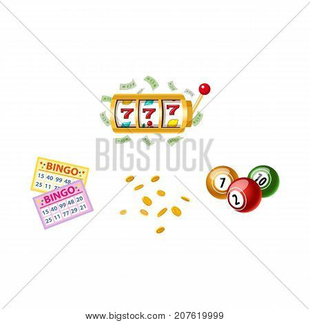 Lottery symbols - slot machine, bingo game cards and kegs, jackpot winning concept, vector illustration isolated on white background. Bingo board game cards and kegs, slot machine, winning combination