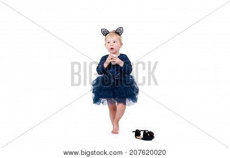 Halloween Costume. Little Toddler Girl In Costume Cat For Halloween