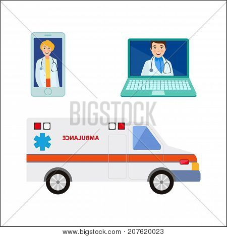 vector flat cartoon male, female doctor, physician in medical clothing avatar on smartphone, laptop screen m ambulance car set. Isolated illustration on a white background.
