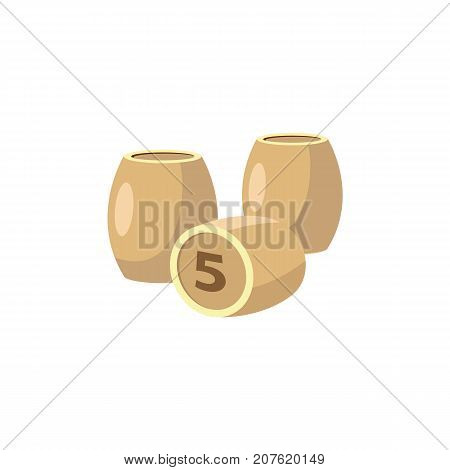 vector flat cartoon style bingo lotto game kegs, wooden barrels with numbers. isolated illustration on a white background. Casino and gambling symbol.