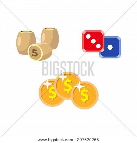 vector flat cartoon casino, gambling symbols set. Lotto, bingo barrels or kegs, dice cubes poker coins, chips. Isolated illustration on a white background.