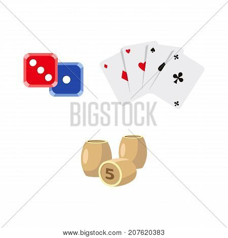 vector flat cartoon casino, gambling symbols set. Lotto, bingo barrels or kegs, dice cubes poker coins four aces all suits, chips. Isolated illustration on a white background.