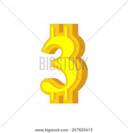 3 Numeral Bitcoin Font. Three Numeric Crypto Currency Alphabet. Lettering Virtual Money. Vector Illu