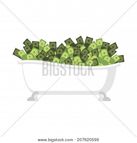 Bath Of Money Isolated. Bath Full Cash. Vector Illustration