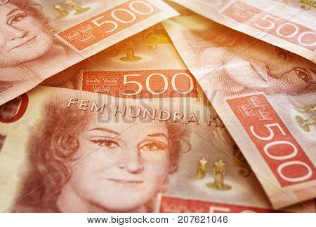 Swedish money bills in stacks, close up